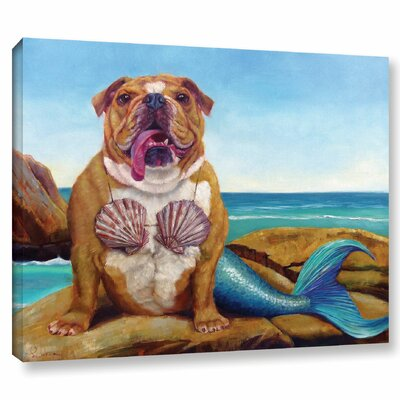 'Mermaid Dog' Painting Print on Canvas Size: 14'' H x 18'' W x 2'' D