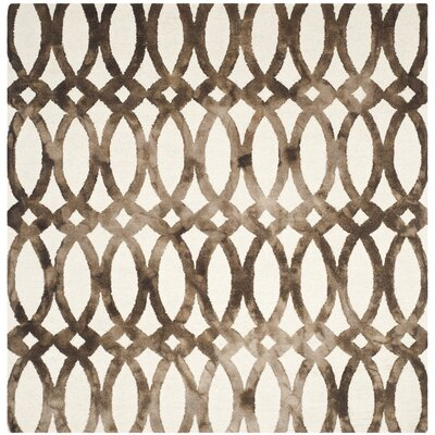 Edie Ivory/Cacao Area Rug Rug Size: Square 7