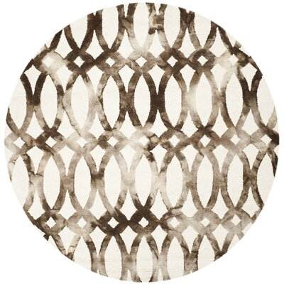 Edie Ivory/Cacao Area Rug Rug Size: Round 7