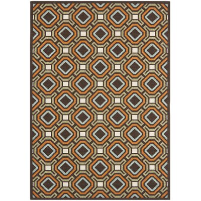 Armadale Chocolate/Terracotta Outdoor Rug Rug Size: 53 x 77
