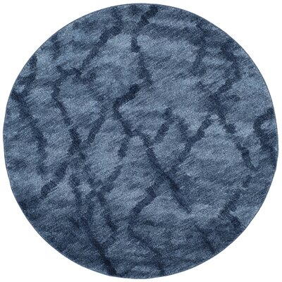 Tenth Avenue Dark Blue Area Rug Rug Size: Round 6