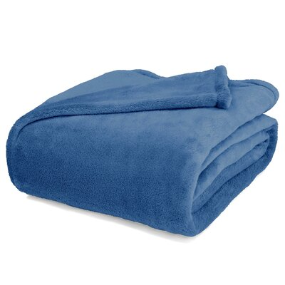 St Catherine Micro Plush Blanket Color: Blue, Size: King
