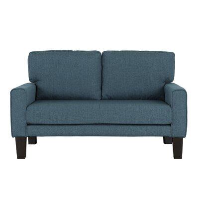 Blagdon Modern Upholstery Loveseat Upholstery: Blue