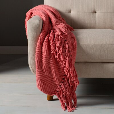 Sidon Tweed Knitted Throw Blanket Color: Strawberry Ice