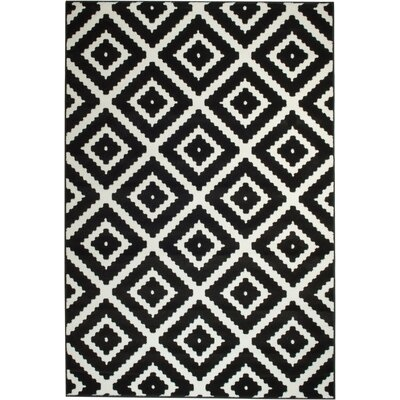 Cheney Black/White Indoor Area Rug Rug Size: 74 x 106