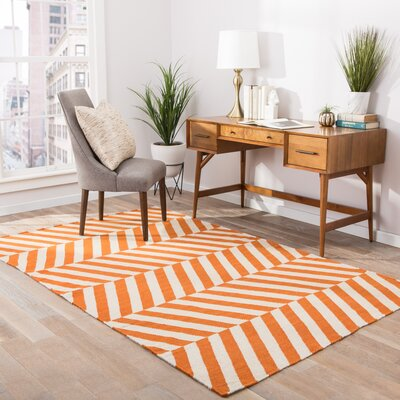 Melton Hand-Woven Orange Area Rug Rug Size: 5 x 8
