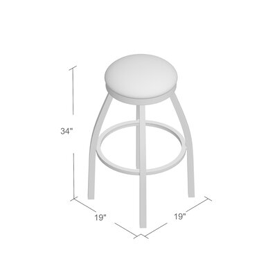 Cragin 34 Swivel Bar Stool Upholstery: Rein Thatch, Finish: Stainless