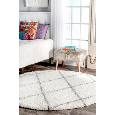 Colona White/Gray Area Rug Rug Size: Round 5 3 x 5 3