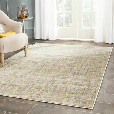 Elvis Gray/Yellow Area Rug Rug Size: Rectangle 52 x 76