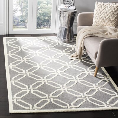 Martins Dark Grey/Ivory Area Rug Rug Size: 5 x 8