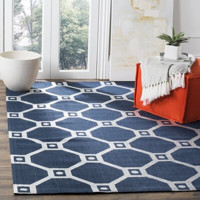 Columbus Circle Hand-Loomed Navy/Silver Area Rug Rug Size: 5 x 8