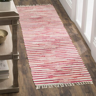 Shatzer Hand-Woven Red Area Rug Rug Size: Runner 2'3