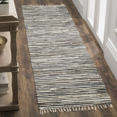 Shatzer Hand-Woven Black Area Rug Rug Size: Rectangle 6 x 9