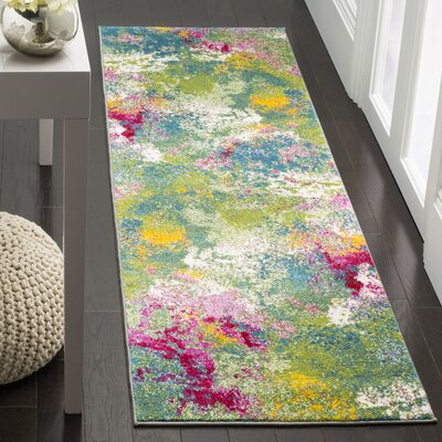 Sharber Green/Pink Area Rug Rug Size: Runner 22 x 10