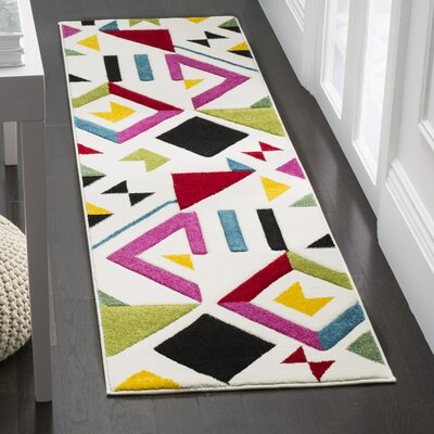 Severs Ivory/Rose Area Rug Rug Size: Runner 22 x 8