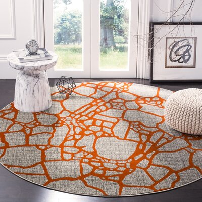Sevastopol Gray/Orange Area Rug Rug Size: Round 67