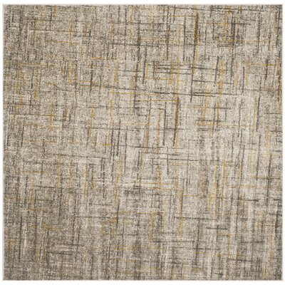 Elvis Gray/Yellow Area Rug Rug Size: Square 67 x 67