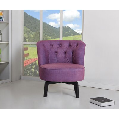 Santillan Swivel Slipper Chair Upholstery: Purple