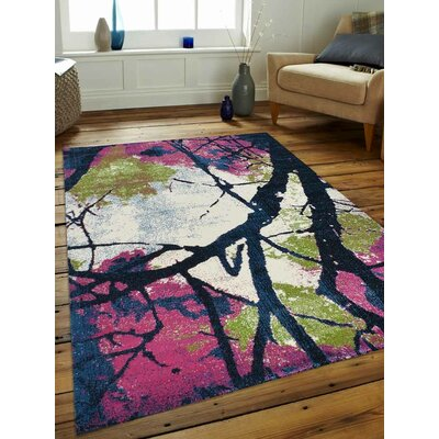 Chung Pink/Blue Area Rug Rug Size: 4 x 6
