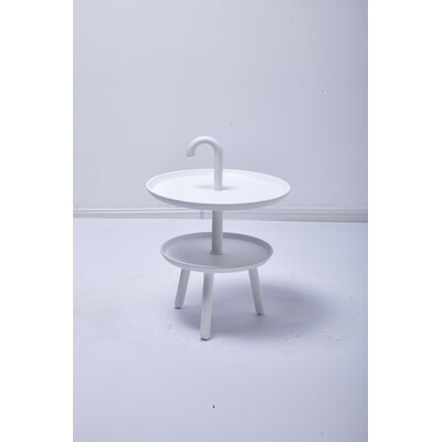 Chamorro Round Top Side Table Color: White