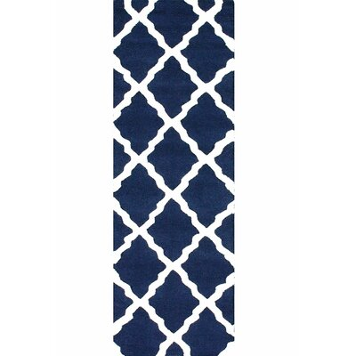 Bullock Moroccan Trellis Navy Area Rug Rug Size: Runner 26 x 8