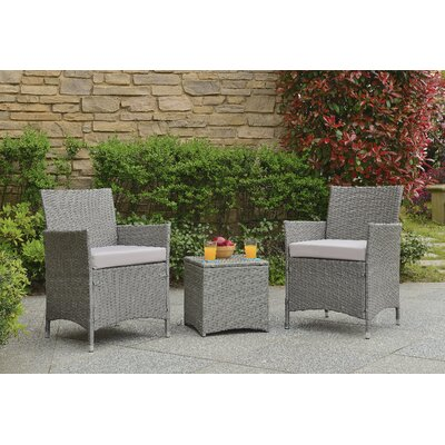 Minden 3 Piece Lounge Seating Group with Cushion Fabric / Finish: Tan / Grey