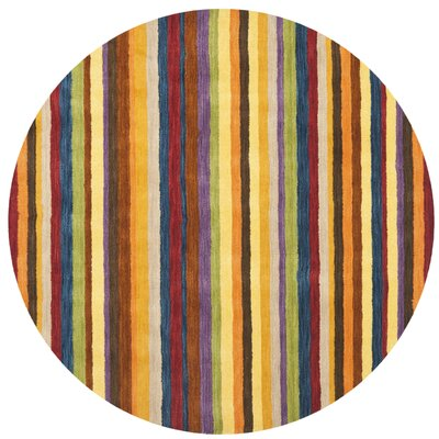 Bolick Hand Woven Wool Yellow/Brown/Orange Area Rug Rug Size: Round 6