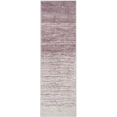 Schacher Purple/Cream Area Rug Rug Size: Runner 26 x 8