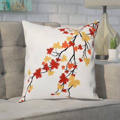 Macaro Maple Hues Flower Print Throw Pillow Size: 20 H x 20 W, Color: Orange