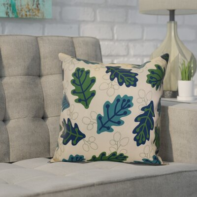 Corder Retro Leaves Floral Throw Pillow Size: 16 H x 16 W x 2 D, Color: Blue