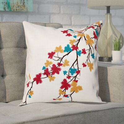Macaro Maple Hues Flower Print Throw Pillow Size: 18 H x 18 W, Color: Teal