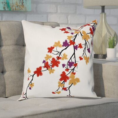 Macaro Maple Hues Flower Print Throw Pillow Size: 18 H x 18 W, Color: Purple