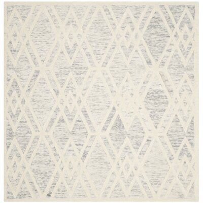 Medina Hand Tufted Gray/Ivory Area Rug Rug Size: Square 6
