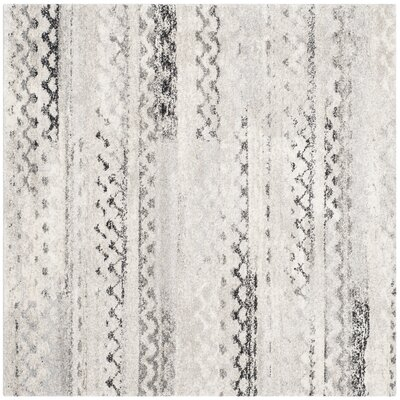 Sabang Cream / Gray Area Rug Rug Size: Square 4