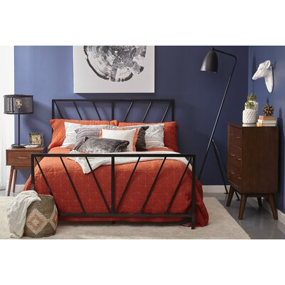 Charee Patterned Metal Queen Panel Bed