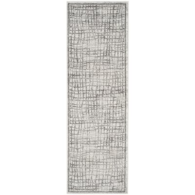 Schacher Silver/Ivory Area Rug Rug Size: Runner 26 x 10