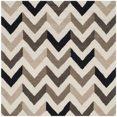Shaler Hand-Tufted Ivory/Black Area Rug Rug Size: Square 6