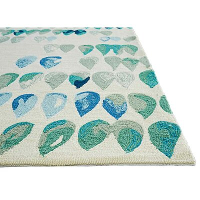 Heitz Ivory/Blue/Green Indoor/Outdoor Area Rug Rug Size: Rectangle 76 x 96