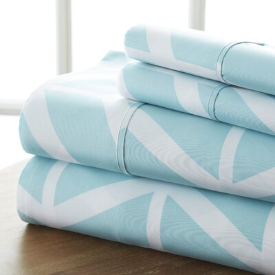 Fiala Chevron Premium Ultra Soft 4 Piece Printed Bed Microfiber Sheet Set Size: King, Color: Turquoise