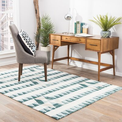 Langridge White/Tan Area Rug Rug Size: 76 x 96