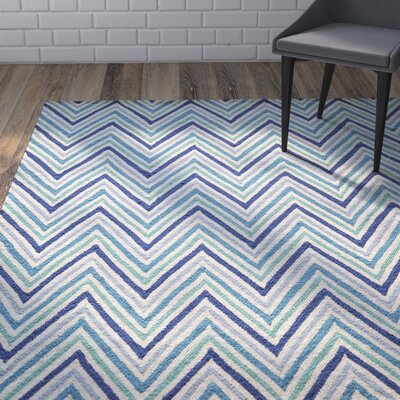 Trent Hand-Hooked Blue Area Rug Rug Size: 36 x 56