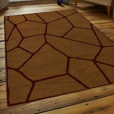 Aristotle Hand-Tufted Wool Gold Area Rug Rug Size: 5 x 8