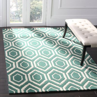 Wilkin Teal / Ivory Rug Rug Size: Rectangle 5 x 8