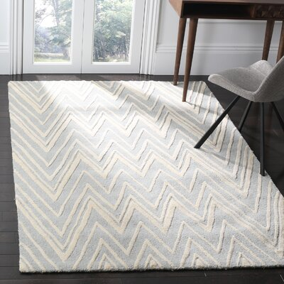 Martins Hand-Tufted Wool Gray/Ivory Area Rug Rug Size: Rectangle 5 x 8