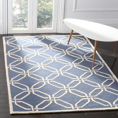 Martins Hand-Tufted Navy/Ivory Area Rug Rug Size: Rectangle 5 x 8