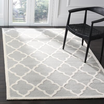 Charlenne Hand-Tufted Light Gray/Ivory Area Rug Rug Size: Rectangle 5 x 8