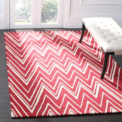 Martins Hand-Tufted Wool Red/Ivory Area Rug Rug Size: Rectangle 5 x 8