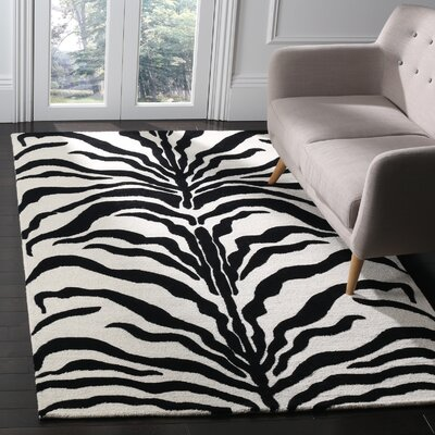 Roloff Hand-Tufted Wool Ivory/Black Area Rug Rug Size: Rectangle 5 x 8