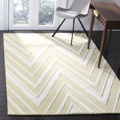 Martins Hand-Tufted Light Gold/Ivory Area Rug Rug Size: Rectangle 5 x 8