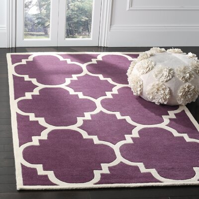 Wilkin Hand-Tufted Purple/Ivory Area Rug Rug Size: Rectangle 5 x 8